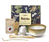 Vireo Bloom Set de Utensilios de preparación de la Ceremonia de té Verde Matcha - 450 ml 1 Chawan bowl (Chawan), Bata (Chasen), Stand (Naoshi), Spade (Chashaku), Japanese traditional kit.