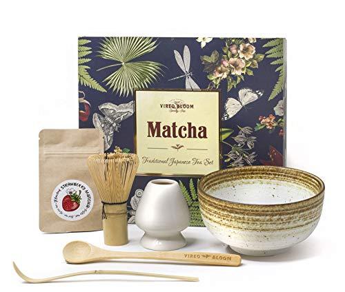 Vireo Bloom Set de Utensilios de preparacion de la Ceremonia de te Verde Matcha - 450 ml 1 Chawan bowl (Chawan), Bata (Chasen), Stand (Naoshi), Spade (Chashaku), Japanese traditional kit.