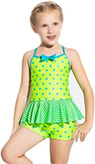Comfortable Girls Swimwear Girls Middle School One-Piece Flat Swimsuit Girls Baby Sunscreen Swimwear Smooth (Color : Green, Size : 6)