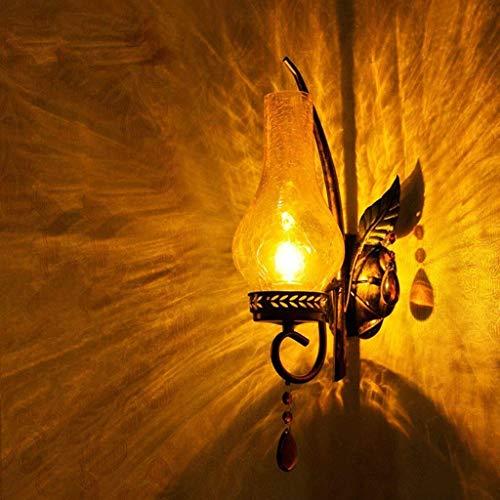 JKCKHA Estilo Europeo muralla China American Retro Moderno Creativo Pastoral sudeste asiático Hierro Caliente de una Sola Cabeza lámpara de cabecera Personalizada Pared Dormitorio de la luz Light Bar