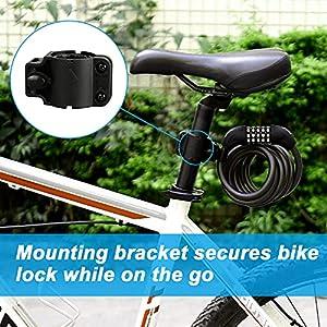Candado de Bicicleta BIGO Seguridad Candado de Cable Mejor Combinación con Flexible montaje Cable de Bloqueo antirrobo alta seguridad para la bicicleta al Aire Libre 180cm X12mm