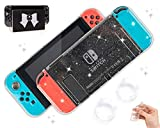 BelugaDesign Glitter Clear Switch Bundle - Dockable Nintendo Switch Standard Case Shell (with Crystal Hard Clear Thumb Grips)