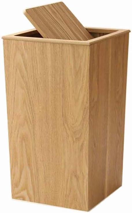 WW/&TT Lata De Basura De Madera con Tapa Oscilante,Cocina Redonda Cubo De Basura,Papelera Japonesa Peque/ña Papelera para El Ba/ño De Oficina Sala De Estar A 19x19x30cm 7x7x12inch