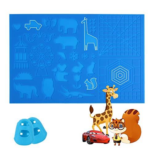 UENTIP 3D Druckstift Silikon Design Matte mit Grundvorlage und Mustern 3D Stift Zeichenblock mit 2 Silikon Fingerkappen