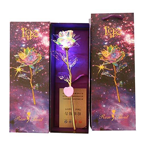 Alician 24 K Oro Laminado Rosa Luminoso Galaxy Flores Regalos para el día de la Madre día de San Valentín, Lámpara de Control de 3 Cables.
