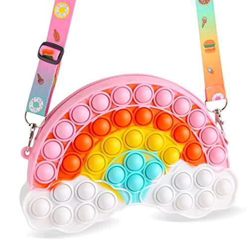 Pop Geldbörse Schultertasche Fidget Toy Rainbow Pop Crossbody Bubble Bag für Mädchen Party Favors Halloween Fidget Bag Frauen Handtasche …, mehrfarbig, X,