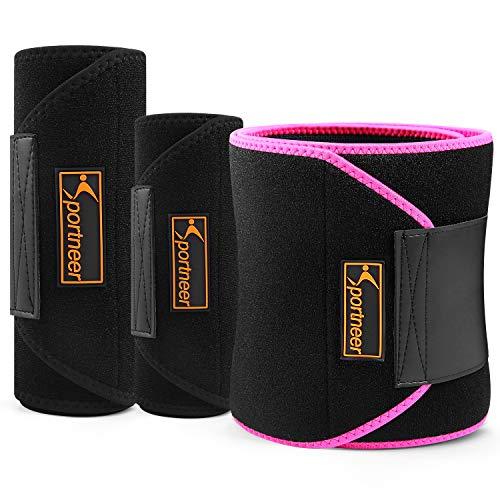 Sportneer Sweat Slim Belt Neoprene Fat Burning Sauna Waist Trainer - Promotes Healthy Sweat, Weight Loss, Lower Back Posture (Black, L)