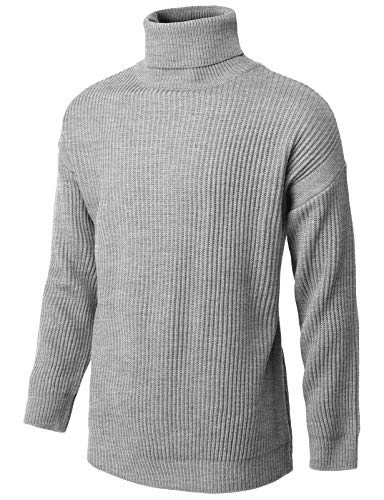 H2H Mens Slim Fit Sweaters Soft Cotton Pullover Lightweight Turtleneck Gray US XL/Asia XL (KMOSWL256)