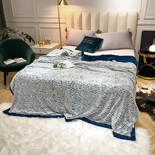 BSWL Thickened Warm Silver Fox Velvet Blanket, Duvet Cover And Blanket, Solid Color Flannel Napping Blanket, Air-Conditioning Blanket, Sofa Blanket,Blue,200x230cm