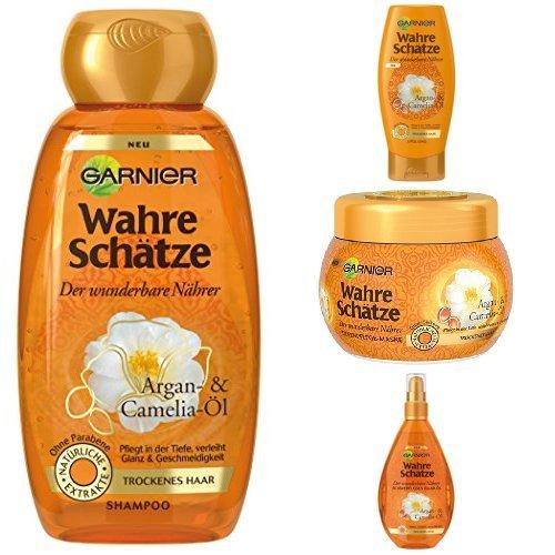 Garnier Wahre Schätze Shampoo + Spülung + Maske + Haaröl Garnier Wahre Schätze Haaröl Argan- und Camelia-Öl, je 1er Pack