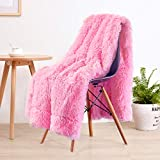 LOCHAS Super Soft Shaggy Faux Fur Blanket, Plush Fuzzy Bed Throw Decorative Washable Cozy Sherpa Fluffy Blankets for Couch Chair Sofa (Hot Pink 50' x 60')