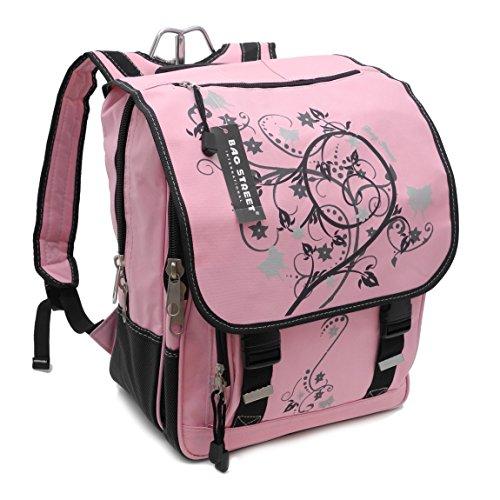 Bag Street Rucksack Schulrucksack Schulranzen Schultasche bis A4 - präsentiert von ZMOKA® (Pink mit Butterfly)