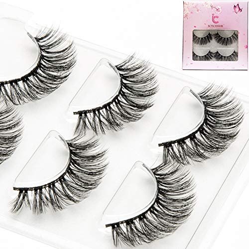 ICYCHEER Sakura Series Lashes 3D Luxury Fluffy Faux Mink Natural Silky Strip Fake Long Eyelashes Multipack - 3 Pairs Pack Cruelty Free (6)