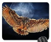 フクロウの翼ムーンマウスパッドマットマウスパッドホットギフト 18x22cm