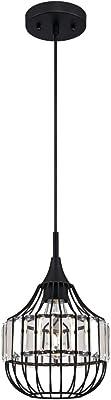 63631 Einflammige Pendelleuchte für den Innenbereich, Ausführung in Mattschwarz, mit käfigförmigem Lampenschirm mit Kristallprismen
