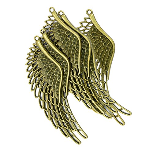Bonarty 6 Piezas de Bronce Antiguo ángel Filigrana ala Encanto Colgante Manualidades de Bricolaje