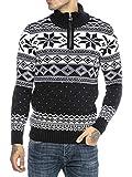 Redbridge Maglione da Uomo Stile Norvegese Pullover con Collo Alto in Cotone Blu M