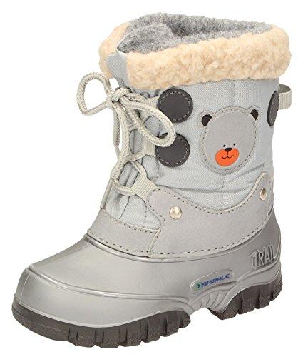 Spirale Kleinkinder Mädchen Jungen Winterstiefel Snowboots Silber/grau, Farbe:Silber, Größe:25