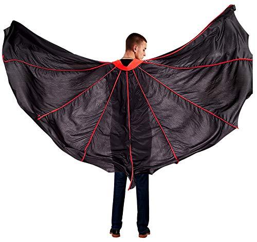 Shmily Girl Capa con Capucha Terciopelo Disfraz de Halloween para Mujeres Hombres Halloween Fiesta Disfraces Negro. (Adulto, Capa de murciélago-Adulto)