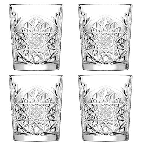 Hobstar Double Old Fashioned Glasses 12oz / 340ml - Set of 4 - Vintage Cut Glass Whisky Tumblers by Libbey -  5632