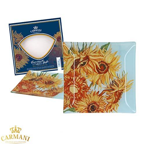 CARMANI - Assiette carrée décoratif imprimé avec la peinture de Vincent Van Gogh, tournesols 28x28cm