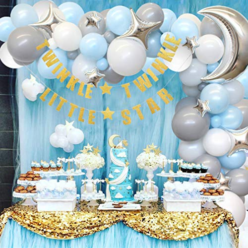 Kreatwow Twinkle Baby Shower, Birthday Decorations for Boy - Blue and Gray Moon & Star Balloon Arch, Gold Twinkle Little Star Banner