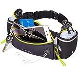 LotFancy Ceinture de Course d'Hydratation avec 2 Gourdes de 180ml sans BPA Unisexe Confortable et Respirante, Partenaire pour Marathon, Jogging, Vélo, Escalade, Camping (Vert)