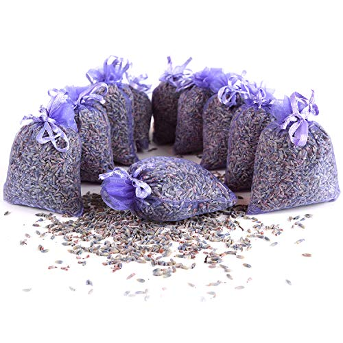 10 saquitos/seca de lavanda con auténtica lavanda francesa - Total 100g Flores de lavanda - de Quertee®