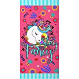 Zzkol Pink Unicorn Stay Fancy Beach Towel, Summer Large Floral Microfiber Sand Free Swim Pool Towel 31x63, Flower Quick Dry Absorbent Travel Bath Camping Picnic Blanket Throw for Adult Kid Women Girl