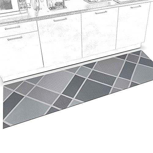 ANRO Alfombra para pasillo, dormitorio, salón, alfombra de cocina, antideslizante, lavable, gris, 65 x 200 cm, 2022