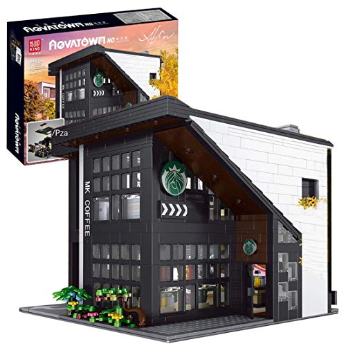 DSXX City Café Haus Bausteine Bausatz, Modular Buildings, Konstruktionsspielzeug Kompatibel mit Lego Haus (2728 Pcs)