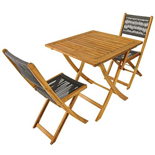 Balkonset 3tlg Gartenmöbel Set 1 Tisch quadratisch Holz 2 Stühle Akazienholz FSC