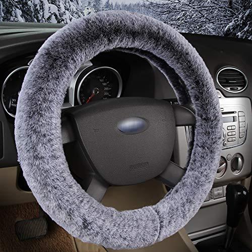 Couverture De Volant De Voiture Chaud Doux Peluche Enjoliveur De Roue Respirant Confortable Four Seasons Universal -37-39Cm,Gray