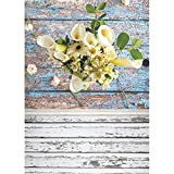 Fondo de fotografía de Primavera Hojas Flor Piso de Madera Fondo de Vinilo Foto de Estudio para niños Recién Nacido Photocall A20 9x6ft / 2.7x1.8m