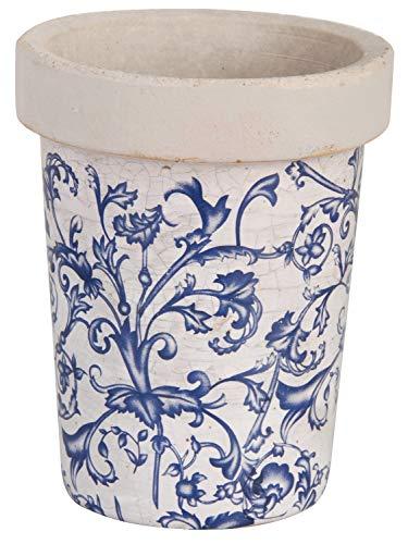 Masionica - Macetero con Soporte de Pared (Terracota, Color Azul y Crema)