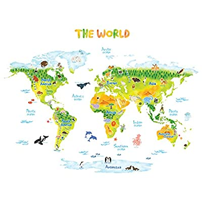 DECOWALL Geological World Map with Animals Kids Wall Stickers Wall Decals Peel and Stick Removable Wall Stickers for Kids Nursery Bedroom Living Room