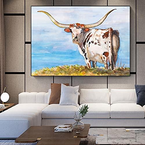 AJleil DIY Pintar por números Highland Vaca Animal Flor Imagen Lienzo impresión Sala de Estar Arte de la Pared Pintura Moderna decoración del hogar impresión de Cartel Pintura d40x60cm(Sin Marco)