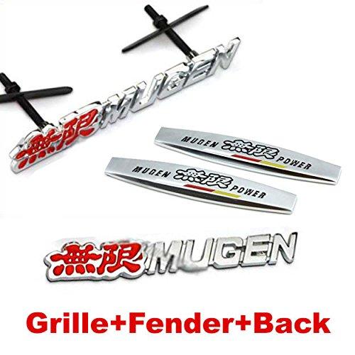 4pcs Sets AM96 MUGEN POWER Front Grille + Fender Side Sticker + Back Sticker Car Emblem Badge For HONDA CR-Z FIT Crosstour Accord SPIRIOR CRV CIVIC CITY