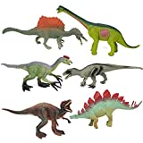 "REALYUCAN 6 Pieces 7"" Dinosaur Set Realistic Dinosaur Figure Toys Educational Dinosaur Set Plastic Dinosaur for Kids and Toddlers Age 3+"