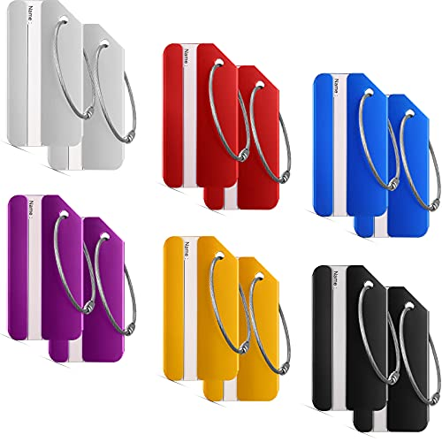 12 Pieces Luggage Tags Business Card Holder Aluminium Metal Travel ID Bag Tag for Travel Luggage Baggage Identifier (Red, Silver, Black, Blue, Purple,...