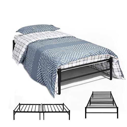 DORAFAIR Single Bed Frame Metal Bed Base Portable with Solid Metal Slat, Fits 3ft 90x190cm Mattress, Black