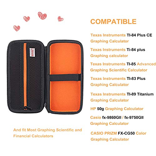 BOVKE for Graphing Calculator Texas Instruments TI-84 / Plus CE Hard EVA Shockproof Carrying Case Storage Travel Case Bag Protective Pouch Box (Renewed) Photo #2