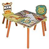 eSituro Mesa para Niños con 2 Sillas Grupo de Asientos y Escritorio para Niños Mesa Infantile con Silla para Bebé Mueble de Juegos con Patrón de Dibujos Animados SCTS0006
