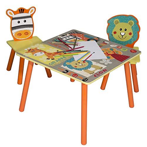 eSituro SCTS0006 Kindersitzgruppe 1 Kindertisch und 2 Kinderstühle Set, Kinderschreibtisch aus MDF Kindermöbel für Kinder, Waldtiere Serie Bunt