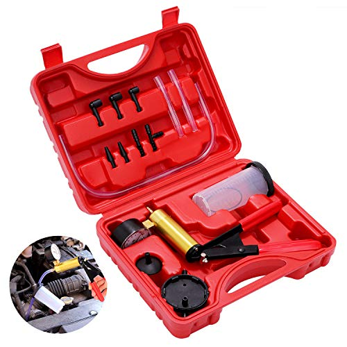 Hand Held Vacuum Pump Brake Bleeder Pressure Tester Vacuum Gauge Kit Car Brake System Bleeding Tools (Red)