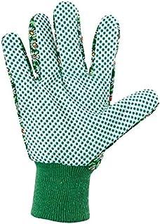 PALISAD Cotton Garden Gloves with PVC Dots, Cuffs (M)