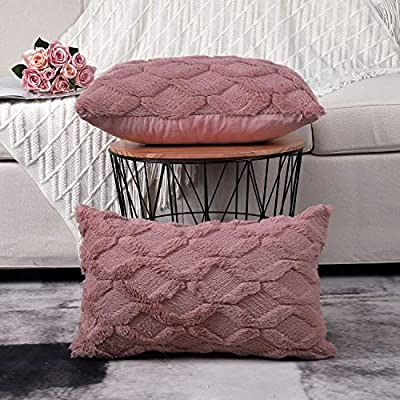 Madizz Pack of 2 Soft Plush Short Wool Velvet Decorative Throw Pillow Covers Luxury Style Cushion Case Pillow Shell for Sofa Bedroom