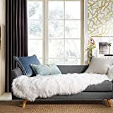 Ashler Soft Faux Sheepskin Fur Chair Couch Cover White Area Rug for Bedroom Floor Sofa Living Room 2 x 6 Feet