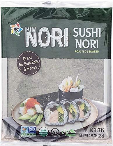 Organic 10 Full Size Sheet KIMNORI Sushi Nori Premium Roasted Seaweed Rolls Wraps Snack 0.88 OZ ( 25g ) Laver, USDA ORGANIC, Gluten Free, No MSG, NON-GMO, Vegan, 김, のり, 海苔, 紫菜