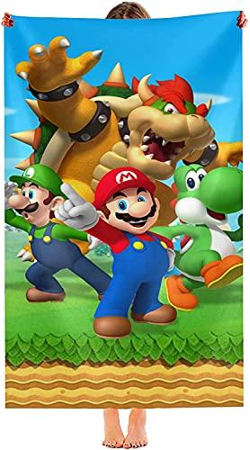Toallas de playa para niños, para las cuatro estaciones, para niños y niñas, cómodas toallas de microfibra (Super Mario Bros, 90 cm x 180 cm)